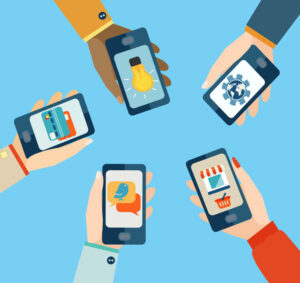Multiple people using mobile apps